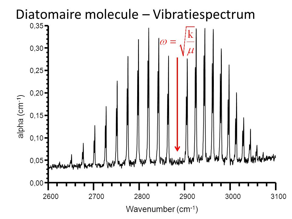 260027002800290030003100 0,00 0,05 0,10 0,15 0,20 0,25 0,30 0,35 alpha (cm -1 ) Wavenumber (cm -1 ) Diatomaire molecule – Vibratiespectrum