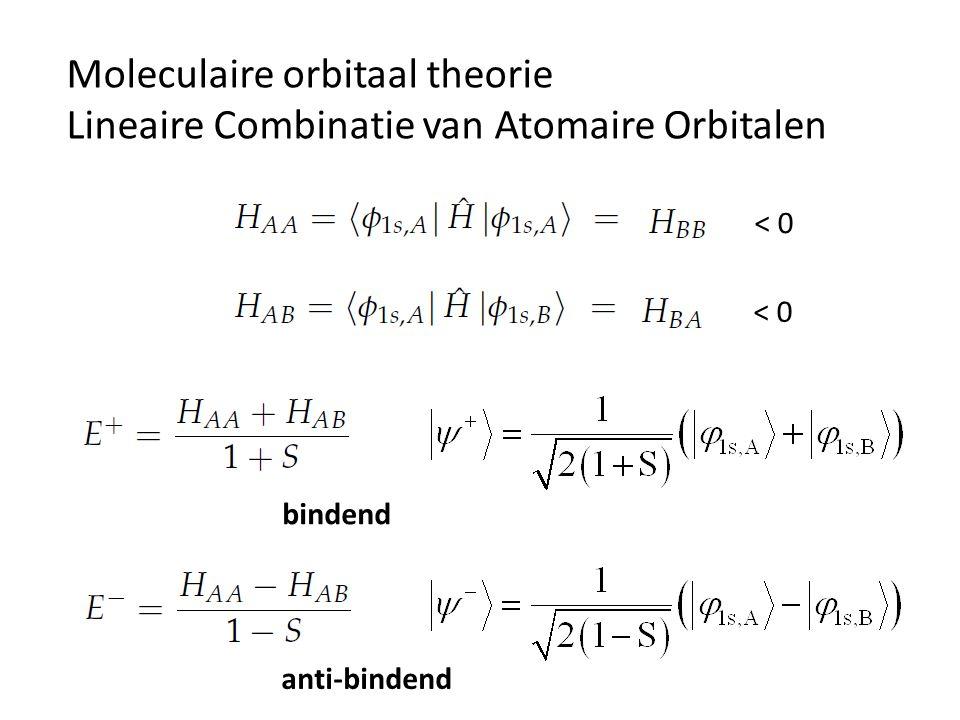Moleculaire orbitaal theorie Lineaire Combinatie van Atomaire Orbitalen < 0 bindend anti-bindend
