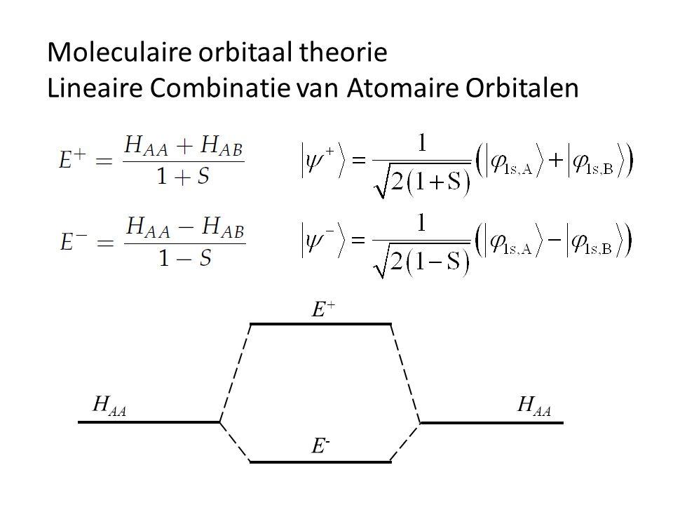 Moleculaire orbitaal theorie Lineaire Combinatie van Atomaire Orbitalen H AA E-E- E+E+