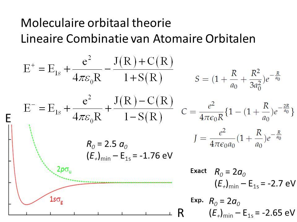 Moleculaire orbitaal theorie Lineaire Combinatie van Atomaire Orbitalen E R R 0 = 2.5 a 0 (E + ) min – E 1s = -1.76 eV R 0 = 2a 0 (E + ) min – E 1s =