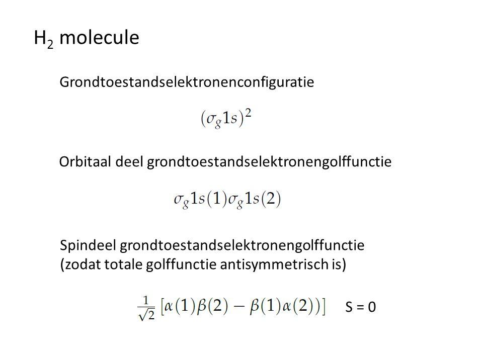 H 2 molecule Grondtoestandselektronenconfiguratie Orbitaal deel grondtoestandselektronengolffunctie Spindeel grondtoestandselektronengolffunctie (zoda