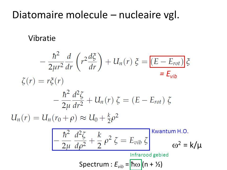 Diatomaire molecule – nucleaire vgl. Vibratie  2 = k/µ Spectrum : E vib = ħ  (n + ½) Infrarood gebied = E vib Kwantum H.O.
