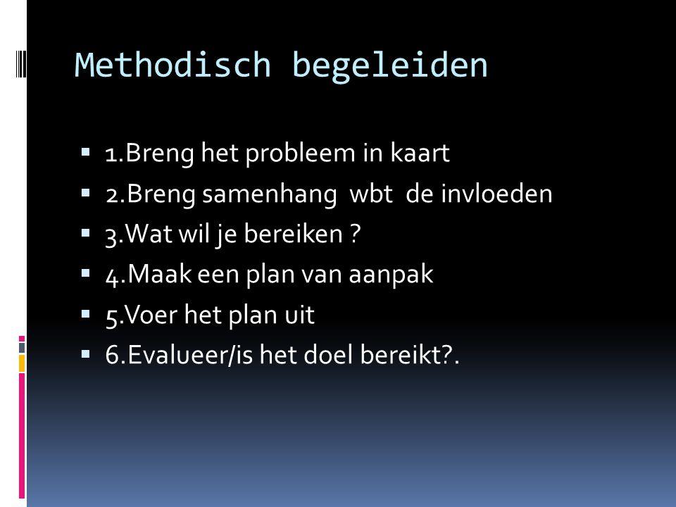 Methodisch begeleiden  1.Breng het probleem in kaart  2.Breng samenhang wbt de invloeden  3.Wat wil je bereiken ?  4.Maak een plan van aanpak  5.