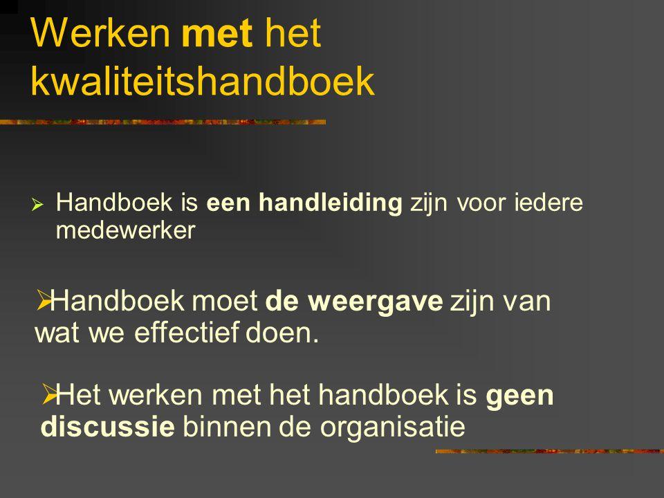 Werken met het kwaliteitshandboek  Handboek is een handleiding zijn voor iedere medewerker  Handboek moet de weergave zijn van wat we effectief doen