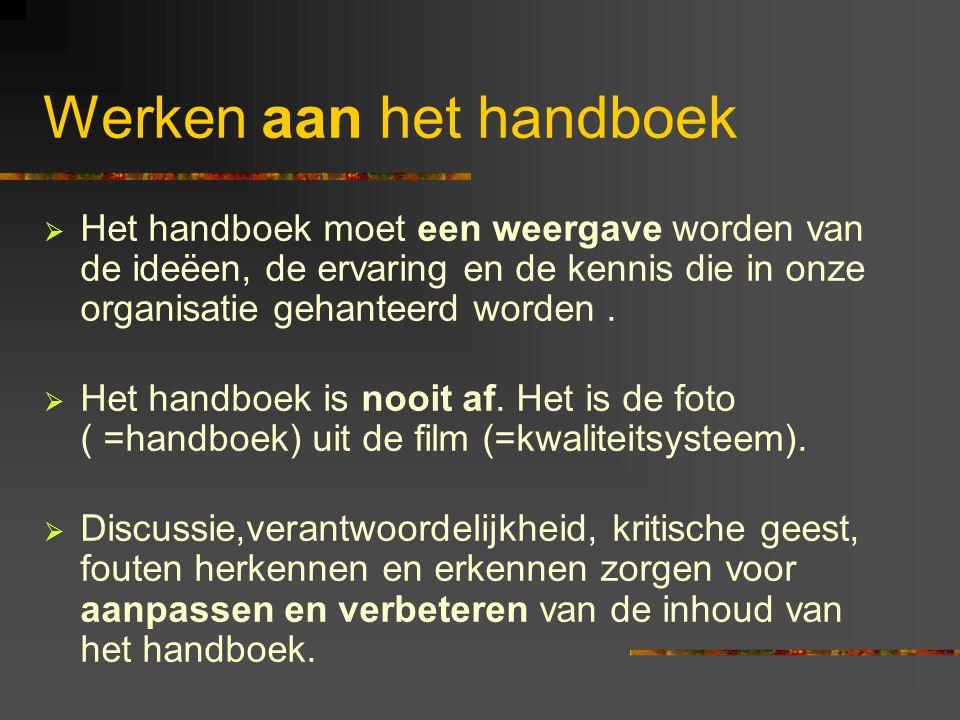 Werken aan het handboek  Het handboek moet een weergave worden van de ideëen, de ervaring en de kennis die in onze organisatie gehanteerd worden.  H