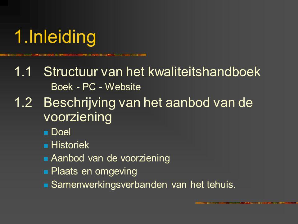 1.Inleiding 1.1Structuur van het kwaliteitshandboek Boek - PC - Website 1.2Beschrijving van het aanbod van de voorziening Doel Historiek Aanbod van de