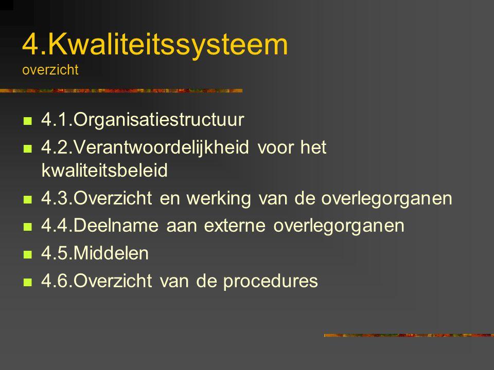 4.Kwaliteitssysteem overzicht 4.1.Organisatiestructuur 4.2.Verantwoordelijkheid voor het kwaliteitsbeleid 4.3.Overzicht en werking van de overlegorgan
