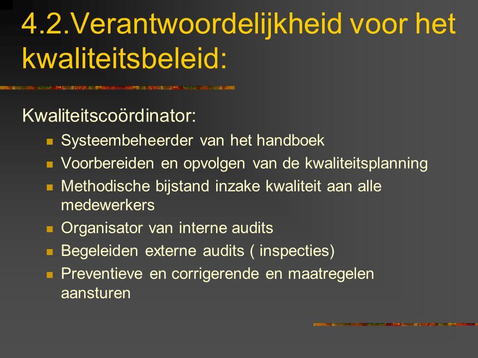 4.2.Verantwoordelijkheid voor het kwaliteitsbeleid: Kwaliteitscoördinator: Systeembeheerder van het handboek Voorbereiden en opvolgen van de kwaliteit