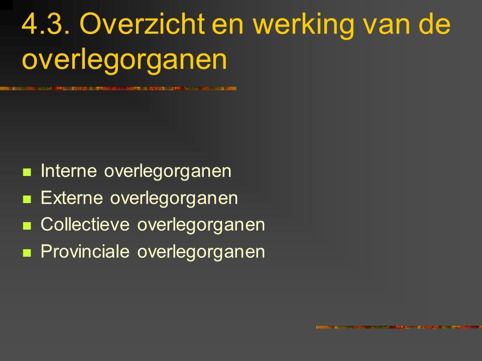 4.3. Overzicht en werking van de overlegorganen Interne overlegorganen Externe overlegorganen Collectieve overlegorganen Provinciale overlegorganen