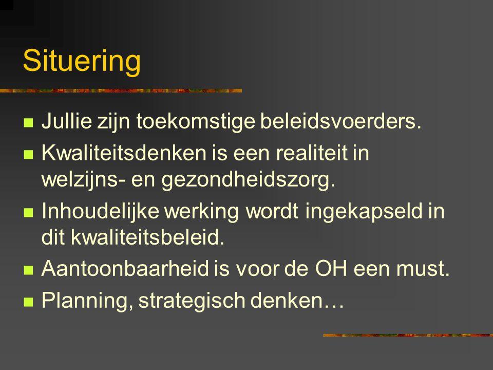 2.Kwaliteitsbeleid 2.1Opdracht, doelstellingen en visie van de organisatie Missie: de opdracht of de bestaansreden van de voorziening Visie: Verklaring waarin wordt beschreven wat de voorziening wil zijn op lange termijn ( pedagogisch concept) Objectieven Waarden: opvattingen en verwachtingen die het handelen bepalen 2.2Kwaliteitseisen of SMK's