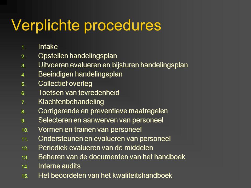 Verplichte procedures 1. Intake 2. Opstellen handelingsplan 3. Uitvoeren evalueren en bijsturen handelingsplan 4. Beëindigen handelingsplan 5. Collect