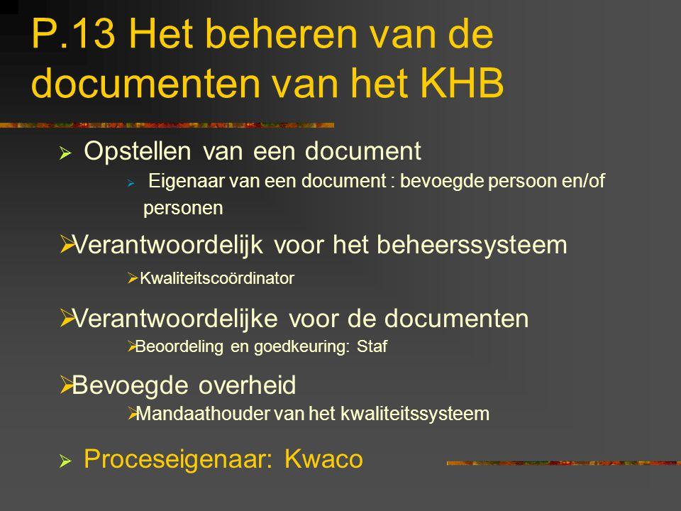P.13 Het beheren van de documenten van het KHB  Opstellen van een document  Eigenaar van een document : bevoegde persoon en/of personen  Proceseige