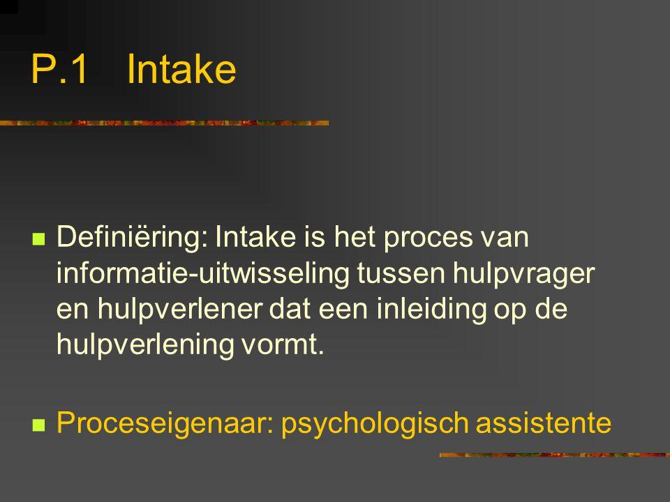 P.1 Intake Definiëring: Intake is het proces van informatie-uitwisseling tussen hulpvrager en hulpverlener dat een inleiding op de hulpverlening vormt