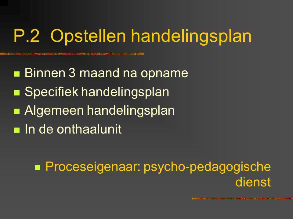 P.2 Opstellen handelingsplan Binnen 3 maand na opname Specifiek handelingsplan Algemeen handelingsplan In de onthaalunit Proceseigenaar: psycho-pedago