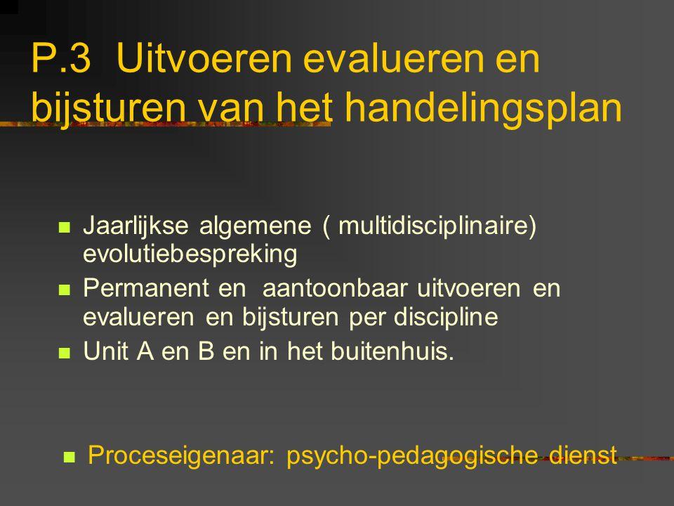 P.3 Uitvoeren evalueren en bijsturen van het handelingsplan Jaarlijkse algemene ( multidisciplinaire) evolutiebespreking Permanent en aantoonbaar uitv