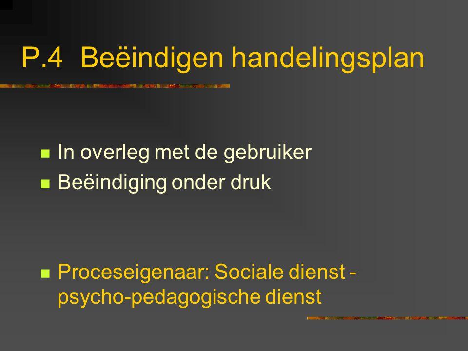 P.4 Beëindigen handelingsplan In overleg met de gebruiker Beëindiging onder druk Proceseigenaar: Sociale dienst - psycho-pedagogische dienst
