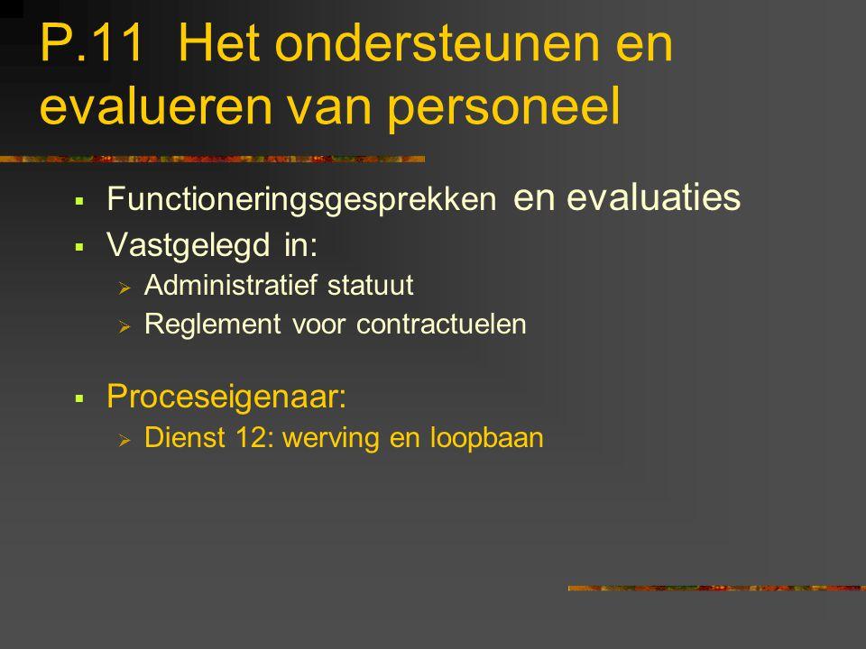 P.11 Het ondersteunen en evalueren van personeel  Functioneringsgesprekken en evaluaties  Vastgelegd in:  Administratief statuut  Reglement voor c