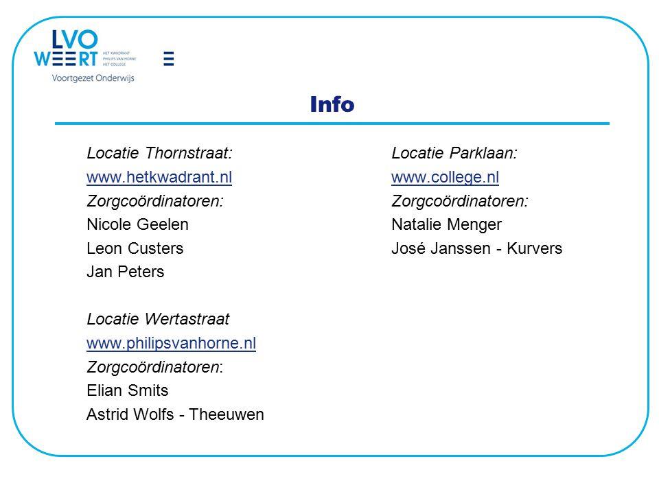 Info Locatie Thornstraat:Locatie Parklaan: www.hetkwadrant.nlwww.hetkwadrant.nl www.college.nlwww.college.nlZorgcoördinatoren: Nicole GeelenNatalie Me