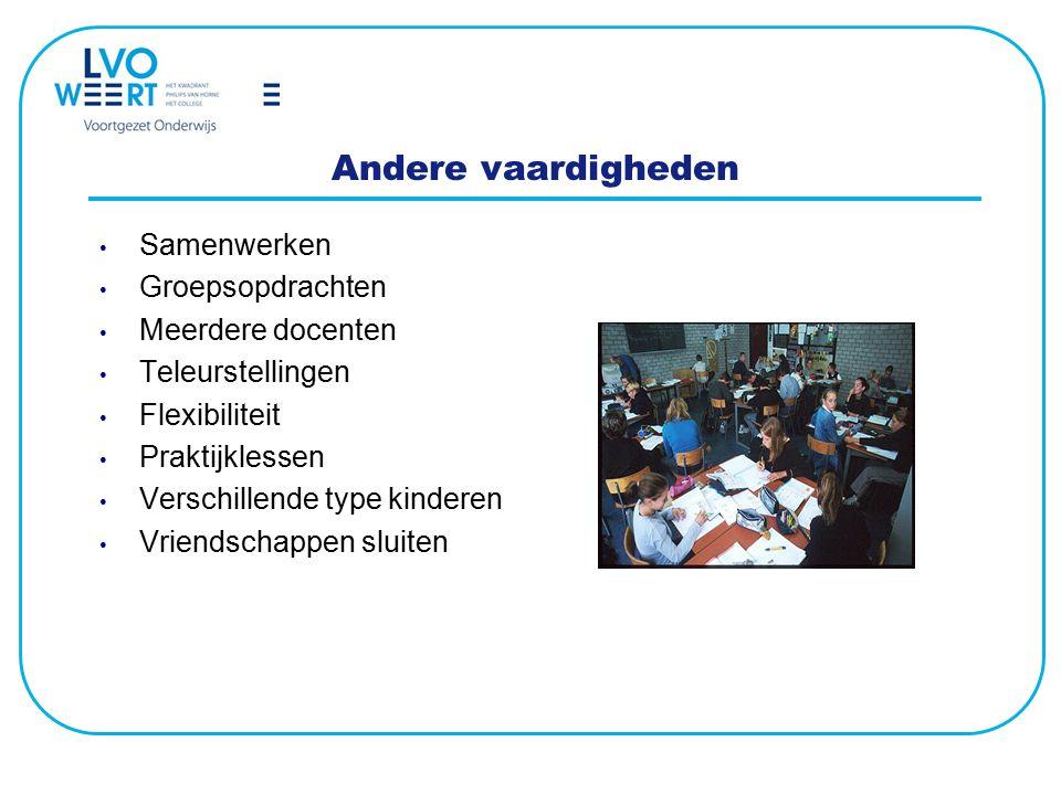 Andere vaardigheden Samenwerken Groepsopdrachten Meerdere docenten Teleurstellingen Flexibiliteit Praktijklessen Verschillende type kinderen Vriendsch