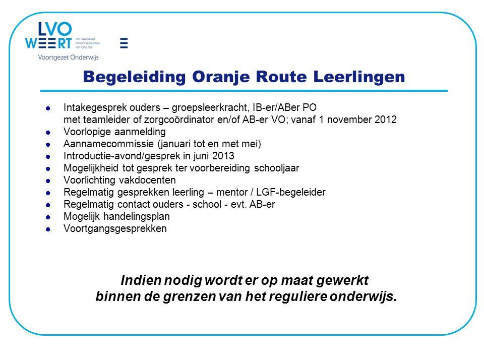 Begeleiding Oranje Route Leerlingen Intakegesprek ouders – groepsleerkracht, IB-er/ABer PO met teamleider of zorgcoördinator en/of AB-er VO; vanaf 1 n