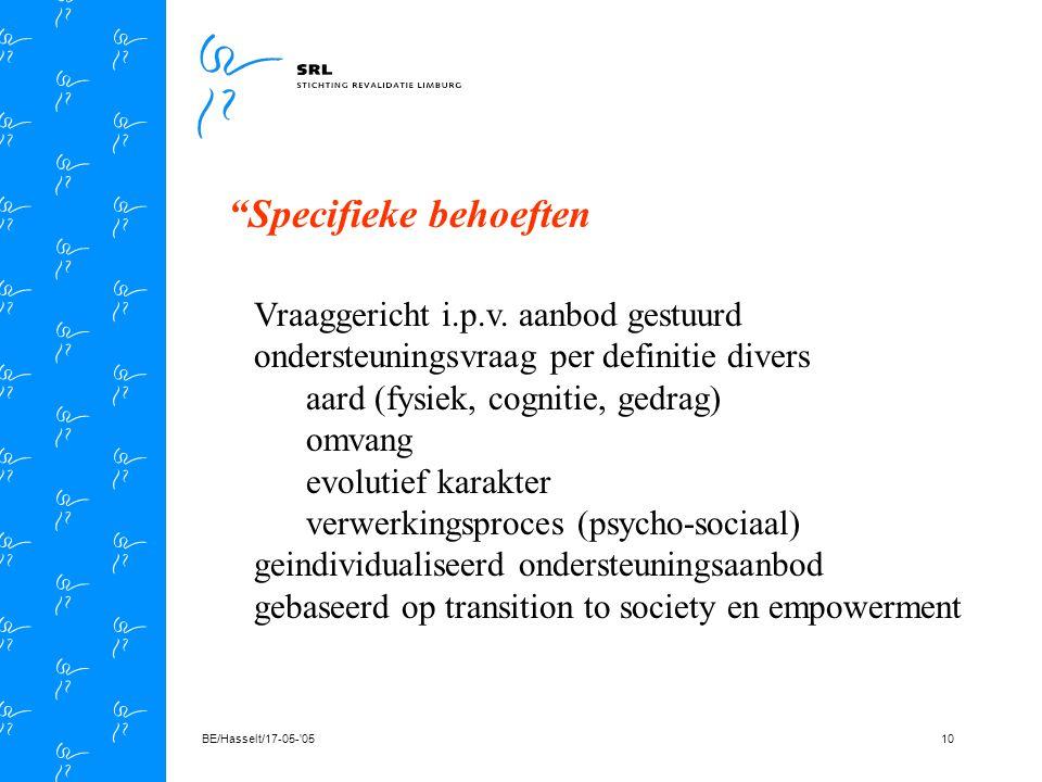 BE/Hasselt/17-05- 059 Uitgangspunten (visie) * holistische visie * vraaggestuurde interventies * vroegtijdige oriëntatie * multidisciplinaire benadering * betrokkenheid van het netwerk * planning op lange termijn * planning op korte termijn * kracht van de omgeving