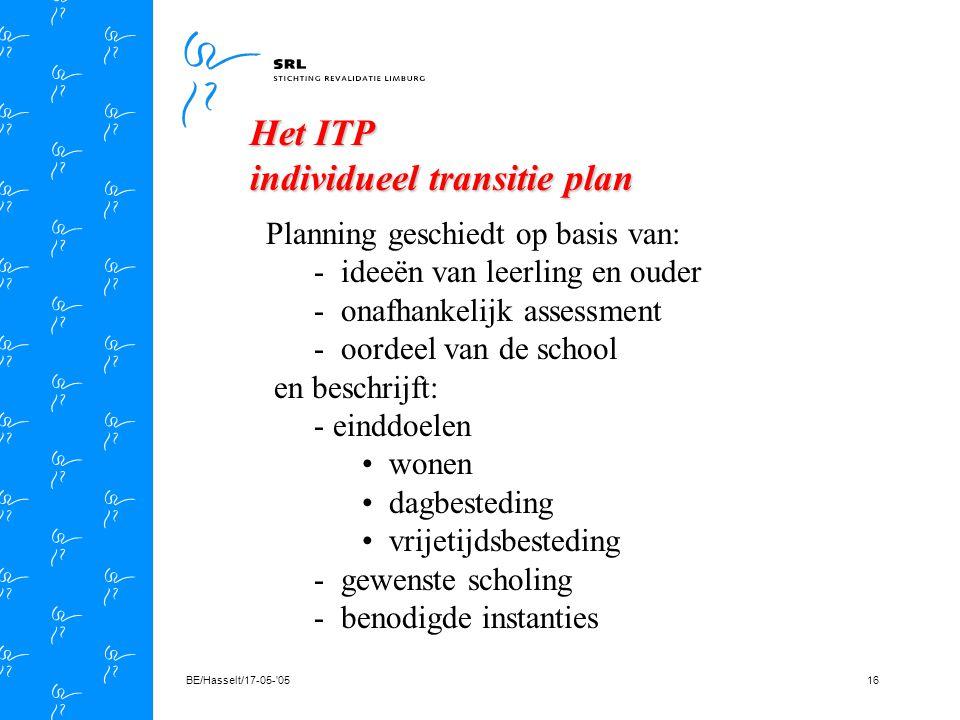 BE/Hasselt/17-05- 0515 definitie: Transitie is een methodiek waarbij een interdisciplinair team zorg draagt voor de samenstelling en implementatie van een plan dat invulling geeft aan de toekomst van studenten met een (lichamelijke) beperking die binnen 3 tot 5 jaar school verlaten Transitie