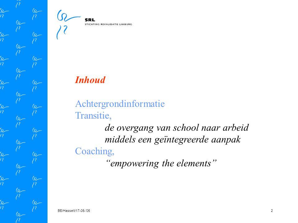 BE/Hasselt/17-05- 0522 Implementatie De cliënt (leerling) * uitvoerige informatie ouders/leerling * bereidheid (motivatie) om medewerking te verlenen * checken voorwaarden (empowerment) om te veranderen