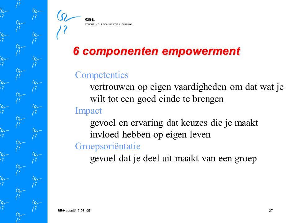 BE/Hasselt/17-05- 0526 Empowerment Zelfsturend vermogen - eigenschappen en vaardigheden die nodig zijn - je eigen weg te kunnen bepalen - weten wat je waard bent - vertrouwen in eigen mogelijkheden - acceptatie van eigen beperkingen - mate van afhankelijkheid of onafhankelijkheid