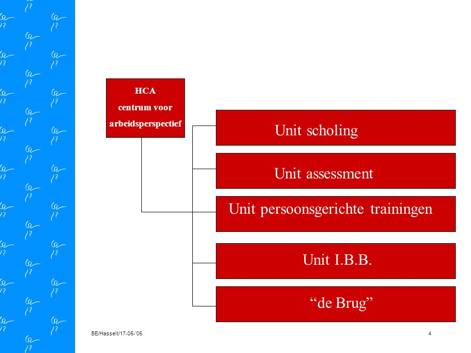 BE/Hasselt/17-05- 054 HCA centrum voor arbeidsperspectief de Brug Unit scholing Unit assessment Unit persoonsgerichte trainingen Unit I.B.B.