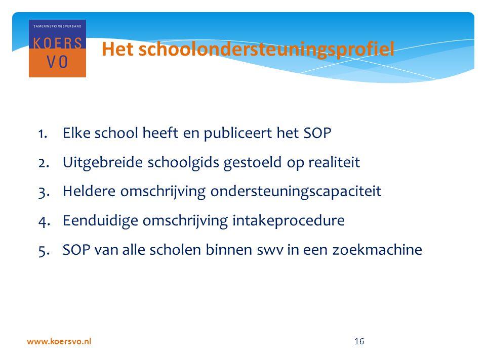 www.koersvo.nl 16 Het schoolondersteuningsprofiel 1.Elke school heeft en publiceert het SOP 2.Uitgebreide schoolgids gestoeld op realiteit 3.Heldere omschrijving ondersteuningscapaciteit 4.Eenduidige omschrijving intakeprocedure 5.SOP van alle scholen binnen swv in een zoekmachine