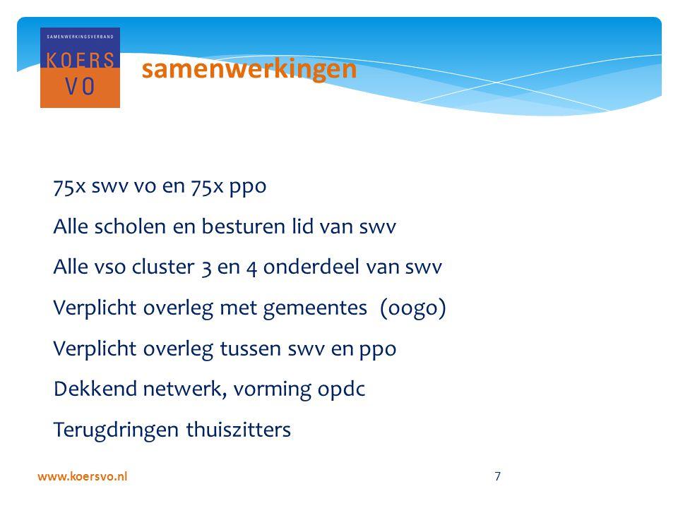 www.koersvo.nl 7 samenwerkingen 75x swv vo en 75x ppo Alle scholen en besturen lid van swv Alle vso cluster 3 en 4 onderdeel van swv Verplicht overleg met gemeentes (oogo) Verplicht overleg tussen swv en ppo Dekkend netwerk, vorming opdc Terugdringen thuiszitters