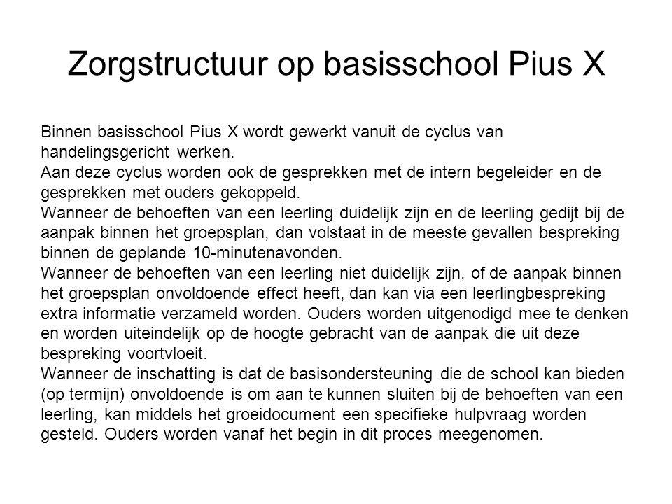 Zorgstructuur op basisschool Pius X Binnen basisschool Pius X wordt gewerkt vanuit de cyclus van handelingsgericht werken. Aan deze cyclus worden ook