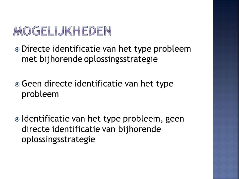  Directe identificatie van het type probleem met bijhorende oplossingsstrategie  Geen directe identificatie van het type probleem  Identificatie van het type probleem, geen directe identificatie van bijhorende oplossingsstrategie