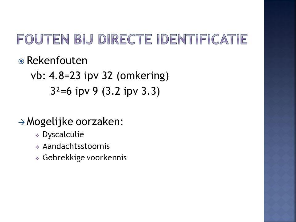  Rekenfouten vb: 4.8=23 ipv 32 (omkering) 3²=6 ipv 9 (3.2 ipv 3.3)  Mogelijke oorzaken:  Dyscalculie  Aandachtsstoornis  Gebrekkige voorkennis