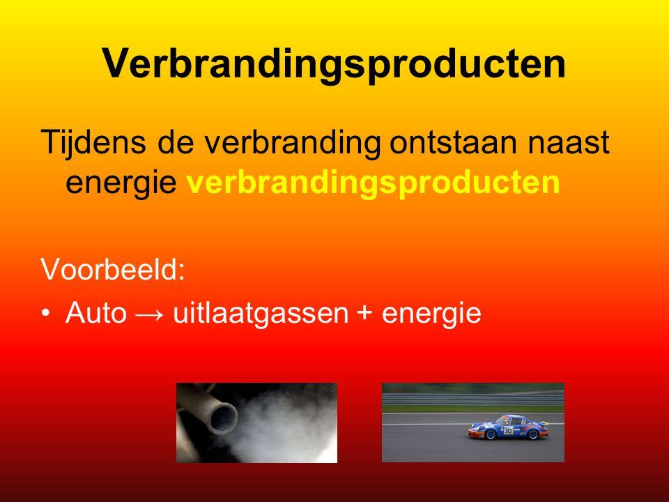 Verbrandingsproducten Tijdens de verbranding ontstaan naast energie verbrandingsproducten Voorbeeld: Auto → uitlaatgassen + energie