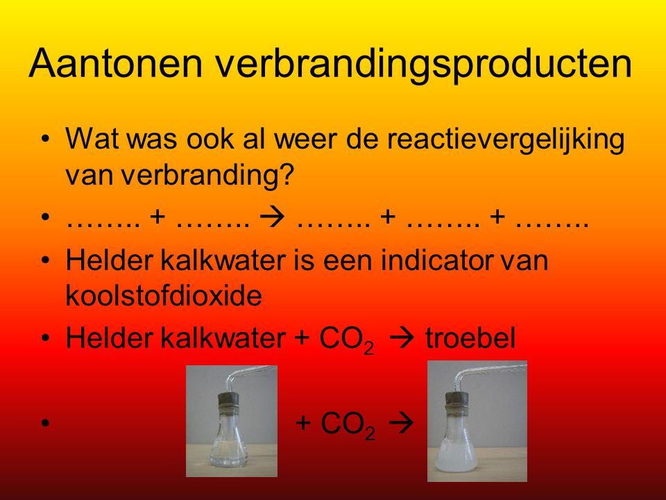 Aantonen verbrandingsproducten Wat was ook al weer de reactievergelijking van verbranding? …….. + ……..  …….. + …….. + …….. Helder kalkwater is een in