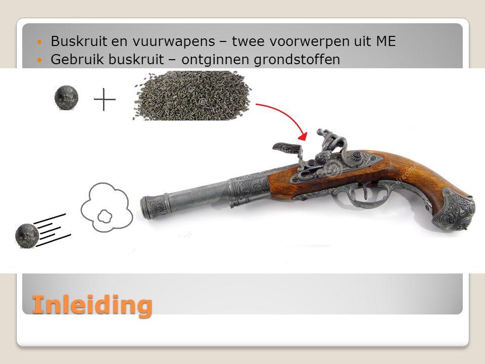 Inleiding Buskruit en vuurwapens – twee voorwerpen uit ME Gebruik buskruit – ontginnen grondstoffen - vuurwapens Vuurwapen – gebruik buskruit – krachtige knal – hoge snelheid – metalen bol (kogel).