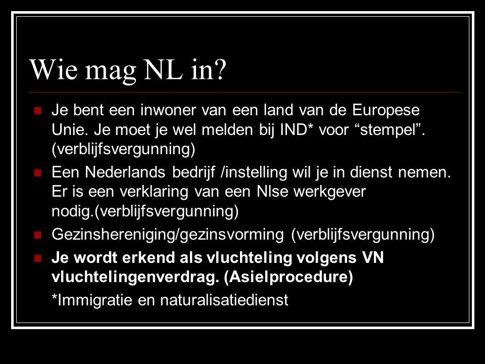 Wie mag NL in.Je bent een inwoner van een land van de Europese Unie.