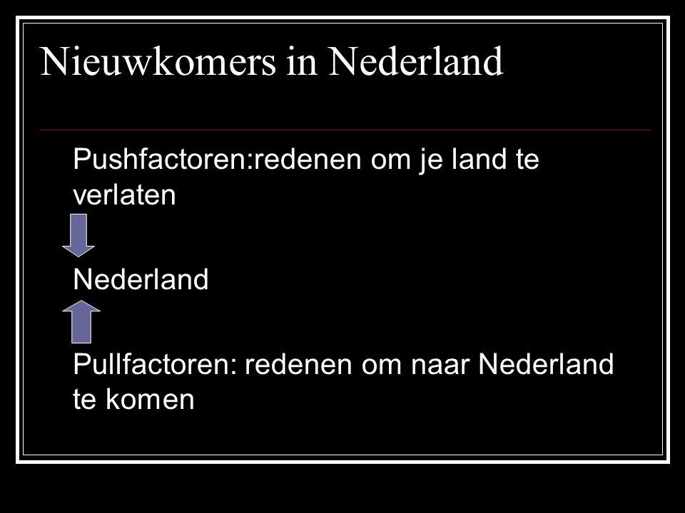 Nieuwkomers in Nederland Pushfactoren:redenen om je land te verlaten Nederland Pullfactoren: redenen om naar Nederland te komen