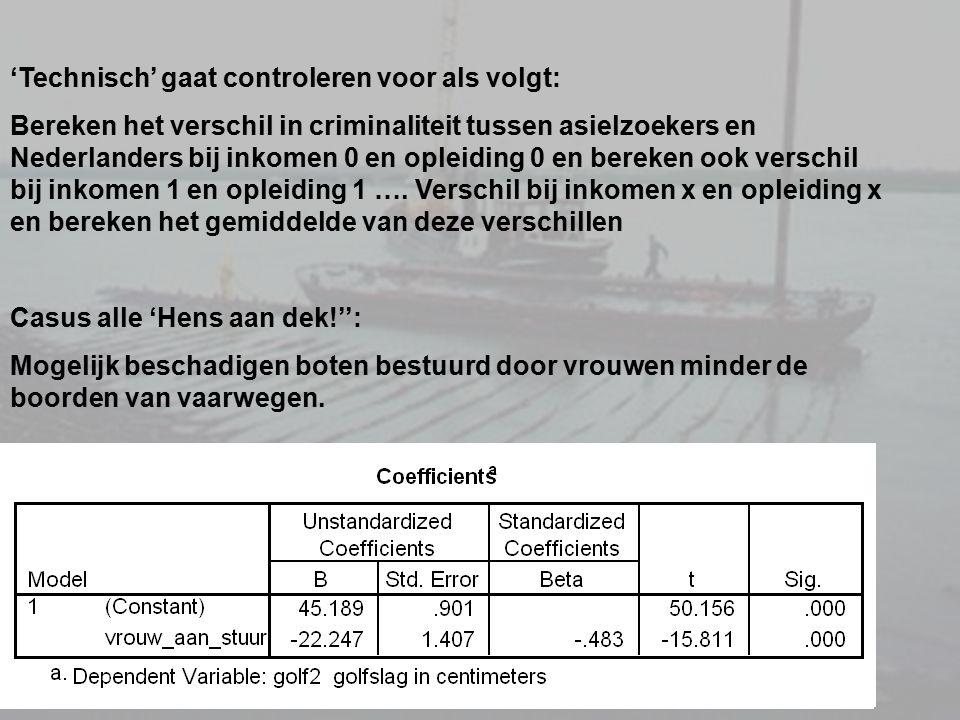 'Technisch' gaat controleren voor als volgt: Bereken het verschil in criminaliteit tussen asielzoekers en Nederlanders bij inkomen 0 en opleiding 0 en