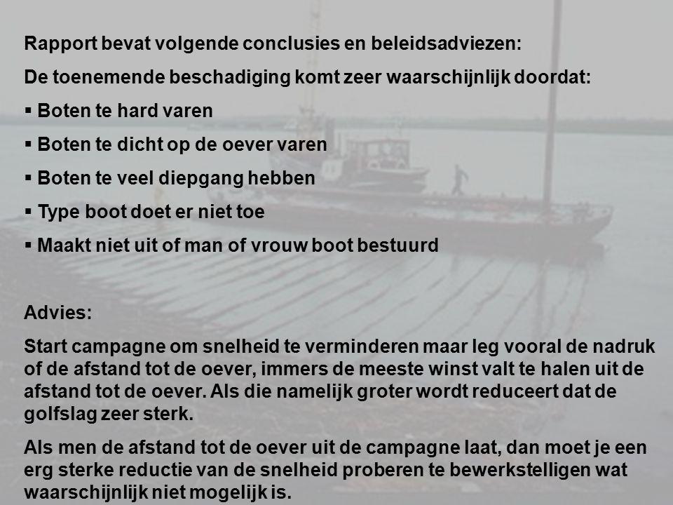 Rapport bevat volgende conclusies en beleidsadviezen: De toenemende beschadiging komt zeer waarschijnlijk doordat:  Boten te hard varen  Boten te di