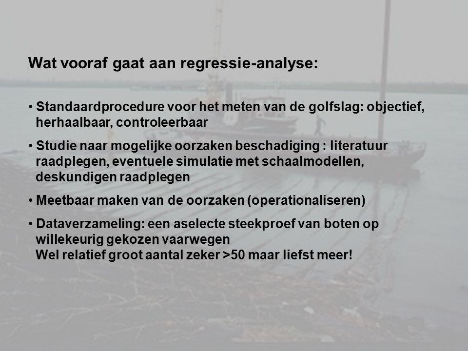 Wat vooraf gaat aan regressie-analyse: Standaardprocedure voor het meten van de golfslag: objectief, herhaalbaar, controleerbaar Studie naar mogelijke