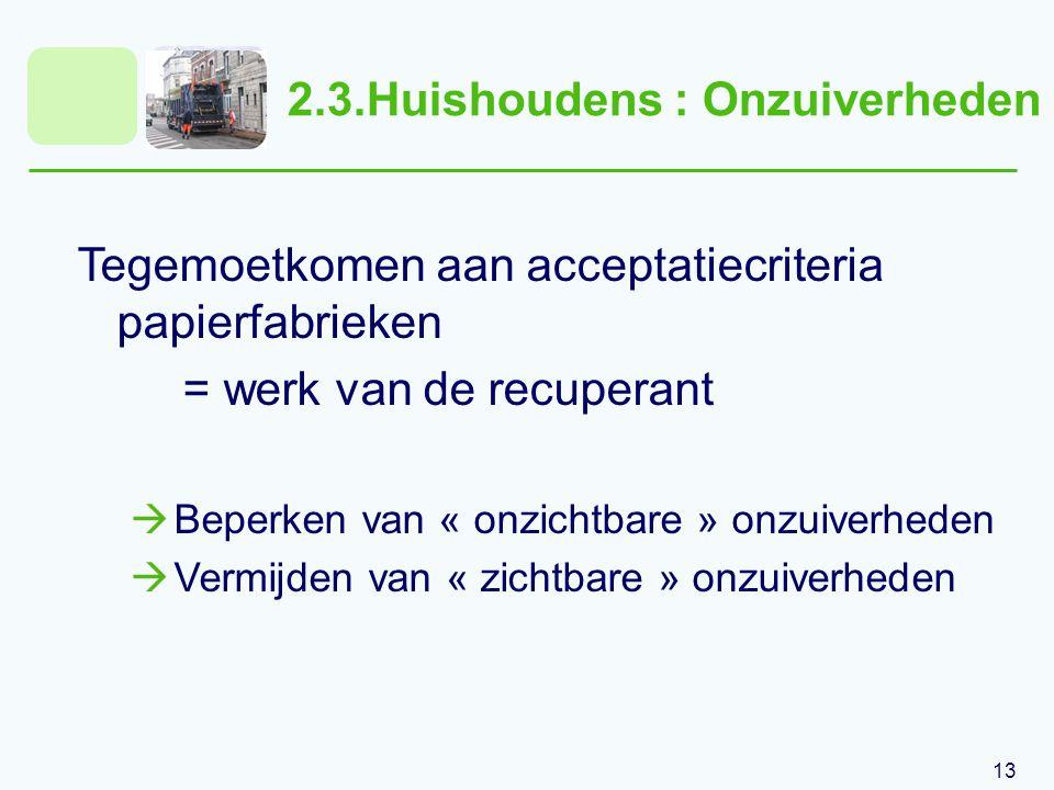13 2.3.Huishoudens : Onzuiverheden Tegemoetkomen aan acceptatiecriteria papierfabrieken = werk van de recuperant  Beperken van « onzichtbare » onzuiverheden  Vermijden van « zichtbare » onzuiverheden