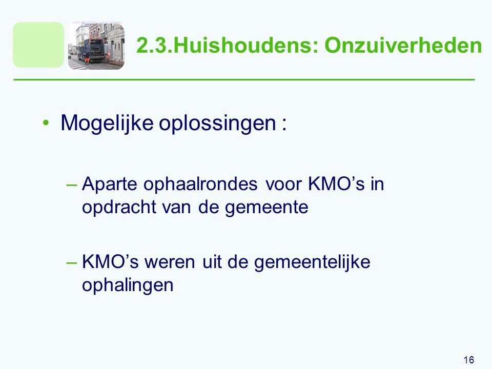 16 2.3.Huishoudens: Onzuiverheden Mogelijke oplossingen : –Aparte ophaalrondes voor KMO's in opdracht van de gemeente –KMO's weren uit de gemeentelijke ophalingen