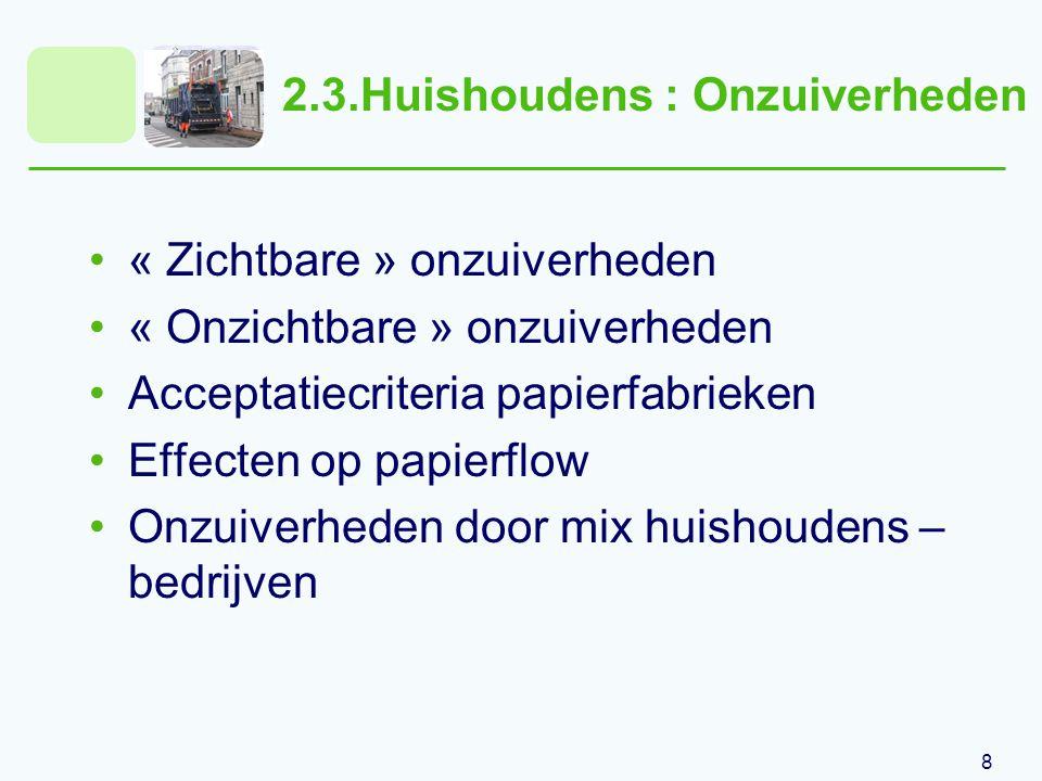 8 2.3.Huishoudens : Onzuiverheden « Zichtbare » onzuiverheden « Onzichtbare » onzuiverheden Acceptatiecriteria papierfabrieken Effecten op papierflow Onzuiverheden door mix huishoudens – bedrijven