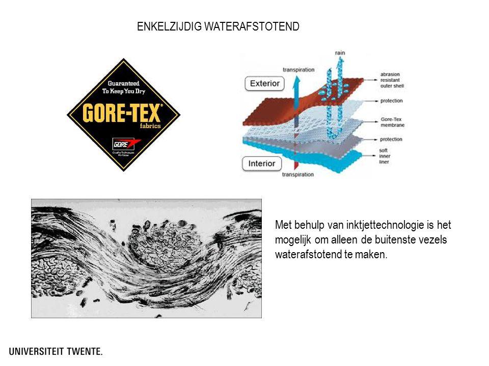 ENKELZIJDIG WATERAFSTOTEND Met behulp van inktjettechnologie is het mogelijk om alleen de buitenste vezels waterafstotend te maken.