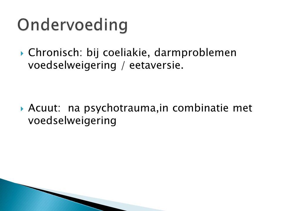  Chronisch: bij coeliakie, darmproblemen voedselweigering / eetaversie.