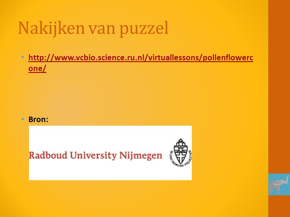 Nakijken van puzzel http://www.vcbio.science.ru.nl/virtuallessons/pollenflowerc one/ http://www.vcbio.science.ru.nl/virtuallessons/pollenflowerc one/