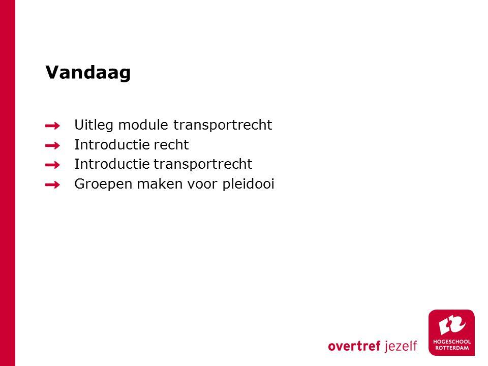 Vandaag Uitleg module transportrecht Introductie recht Introductie transportrecht Groepen maken voor pleidooi