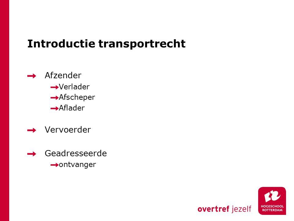 Introductie transportrecht Afzender Verlader Afscheper Aflader Vervoerder Geadresseerde ontvanger